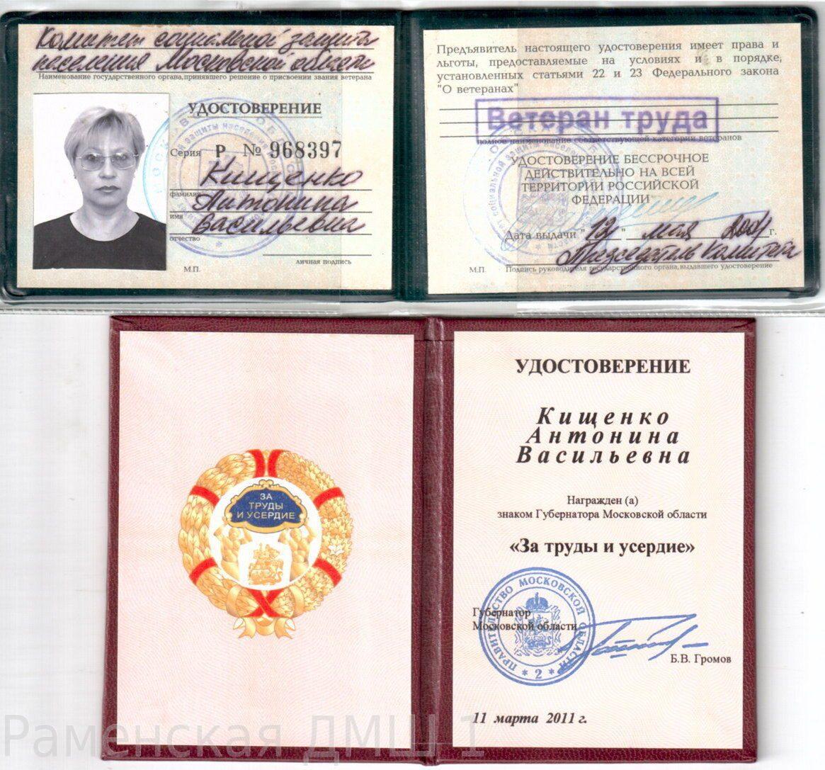 знаком губернатора московской области за труды и усердие